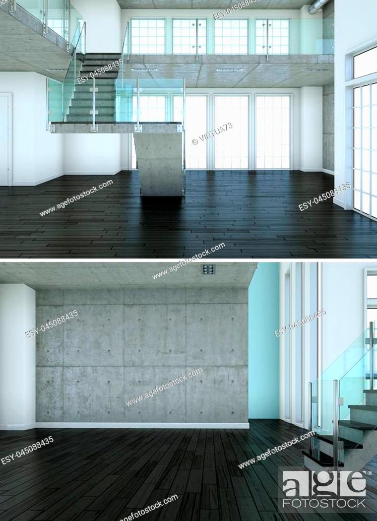 Stock Photo: Two views of modern interior loft design with stairway 3d Rendering.