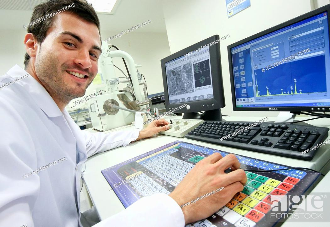 Stock Photo: Researcher. SEM. Scanning Electronic Microscope. Technological Services to Industry. Tecnalia Research & Innovation, Donostia, San Sebastian, Gipuzkoa.