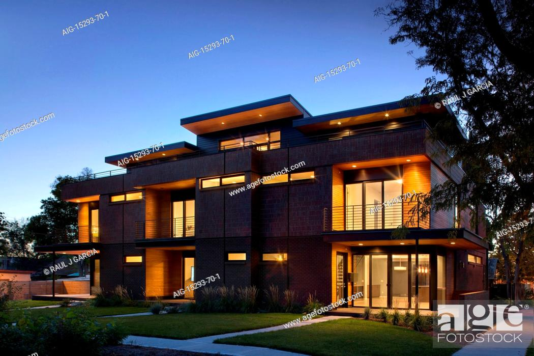 Stock Photo Modern Red Brick Apartment Building At Dusk Marion House Designed By Ton Lawton