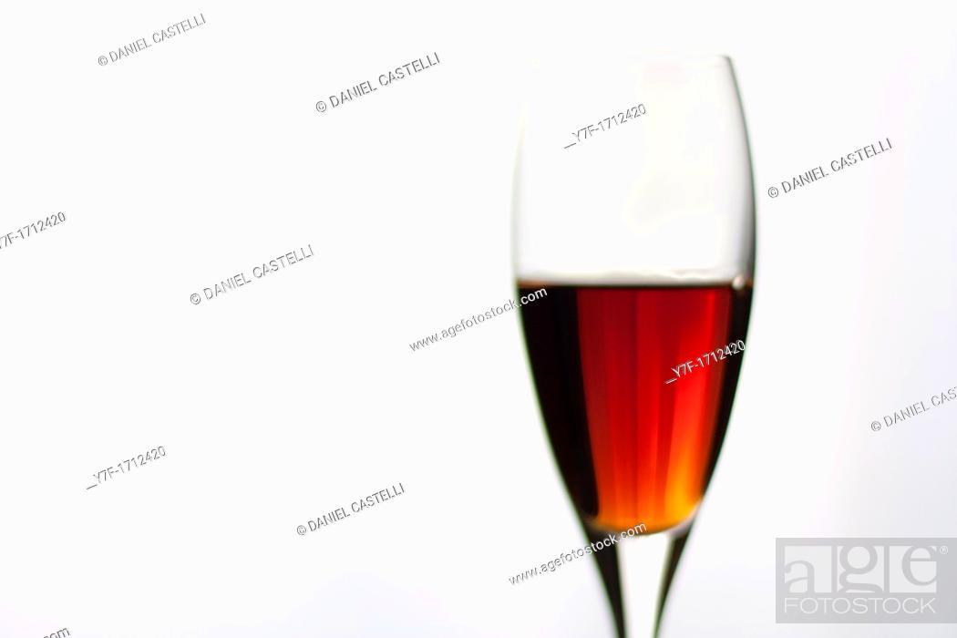 Stock Photo: Closeup of a liquor crystal glass.