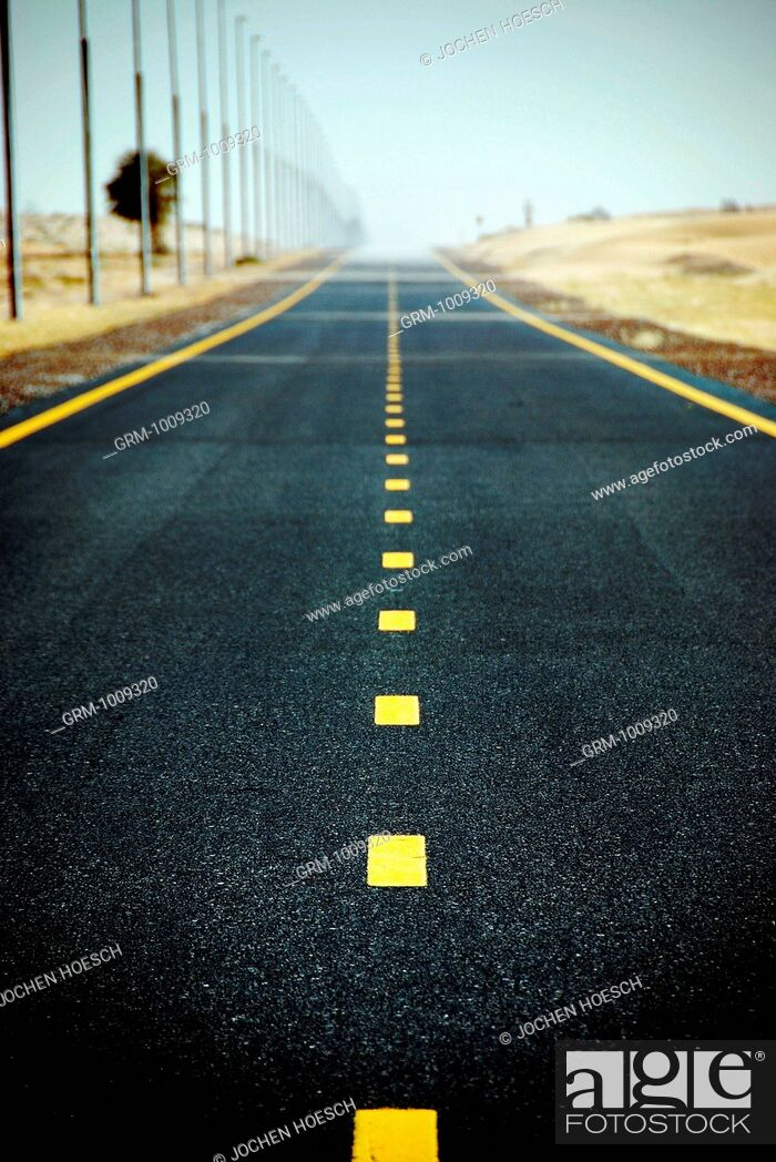 Stock Photo: Desert Road near Dubai, UAE.
