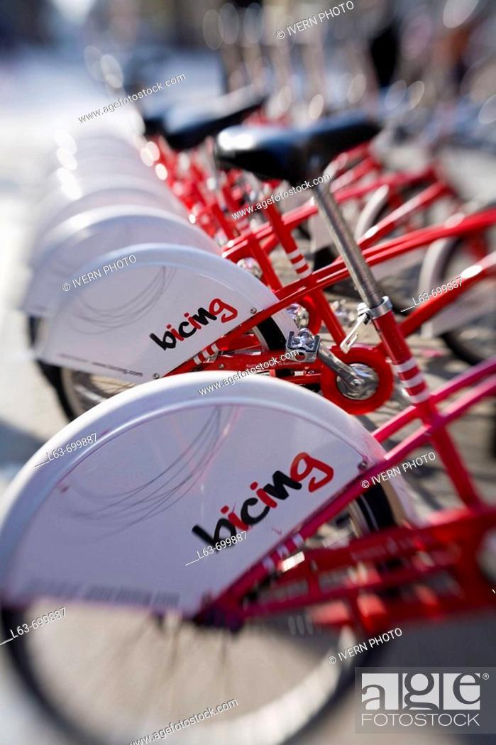 Stock Photo: 'Bicing' (Municipal self-service rental bikes). Barcelona. Catalonia. Spain. Selective focus image.