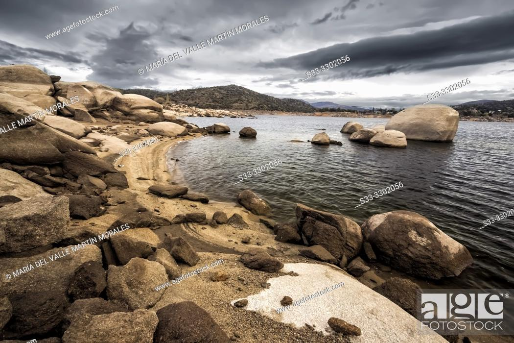 Stock Photo: Burguillo reservoir in Iruelas Valley early in the morning on a cloudy day. Avila. Spain. Europe.