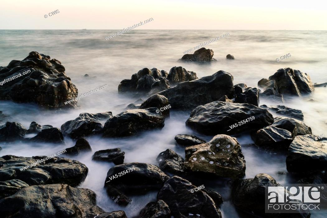 Stock Photo: The view of many rocks at the seaside.