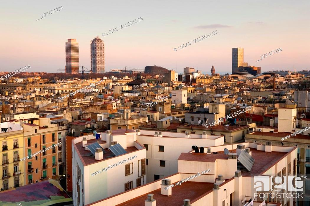 Stock Photo: Barcelona: From left to right, Mapfre tower, Hotel Arts, Barcelona Biomedical Research Park building and Mare Nostrum tower.