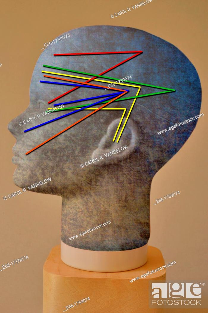 Stock Photo: human head with grey and blue texture, showing how the senses work in the brain.