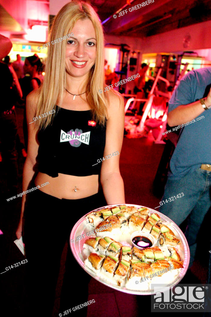 Stock Photo Hostess At Crunch Fitness Gym Vip Party South Beach Miami