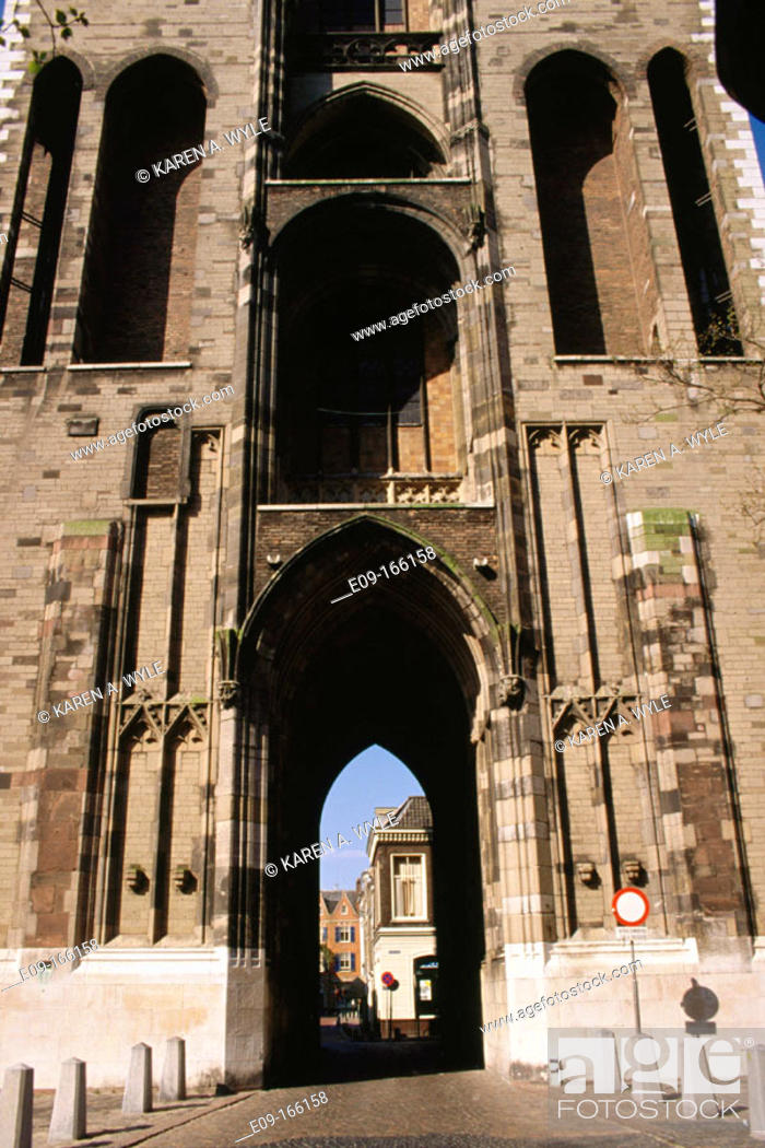 Stock Photo: Arched passage under tower. Utrecht. Holland.