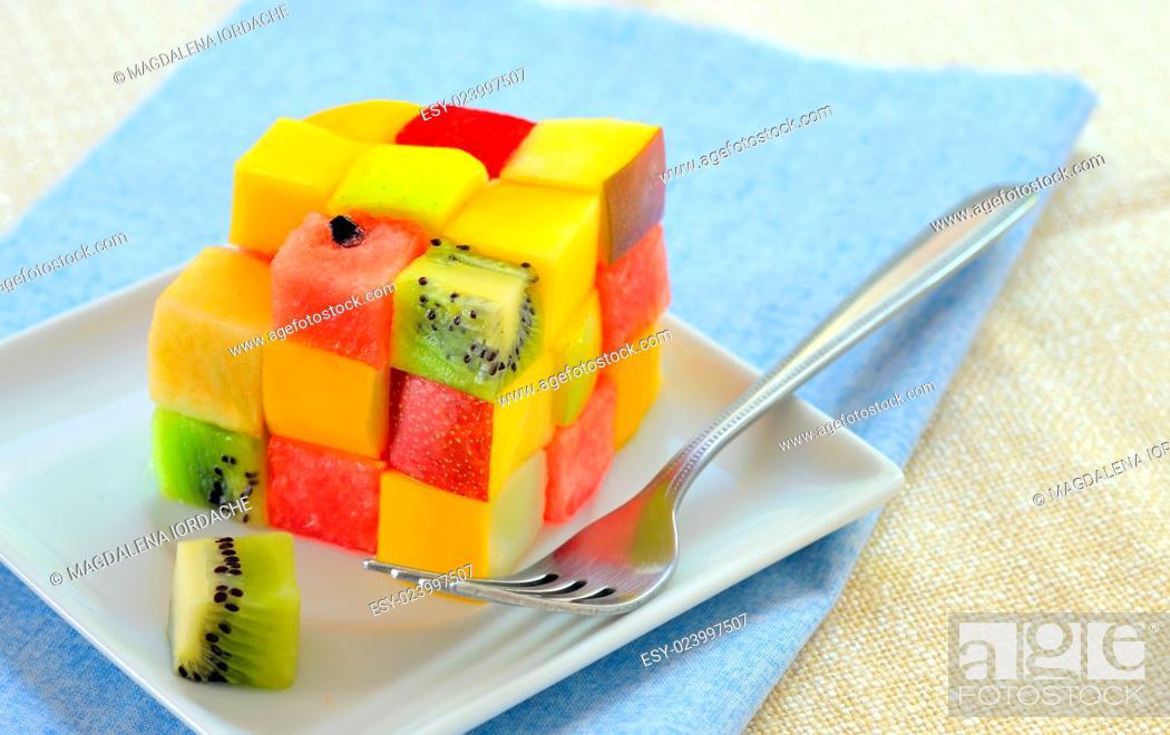 Stock Photo: Healthy fruit salad Rubiks cube concept.