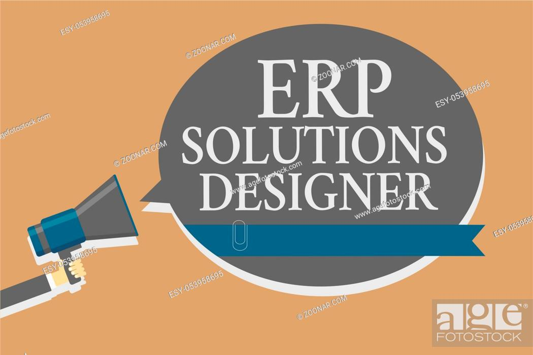 Stock Photo: Handwriting text Erp Solutions Designer. Concept meaning elegant optimized modularised and reusable possible Grey colour sound speaker multiline text message.