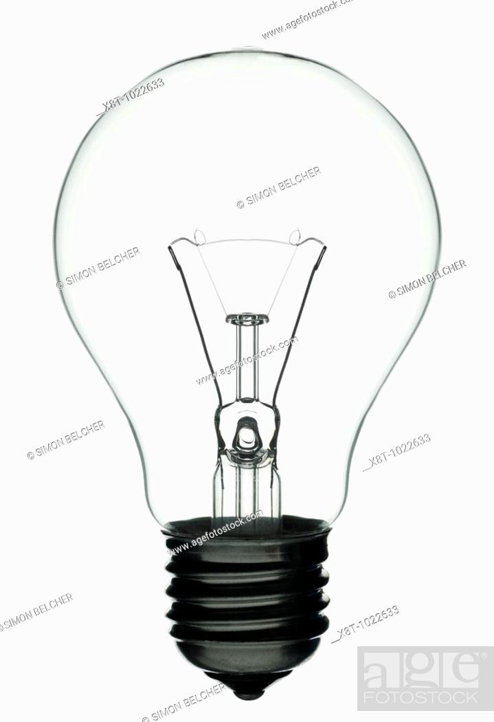 Stock Photo   Lightbulb, Close Up Traditional Tungsten Lightbulb Against A  White Background