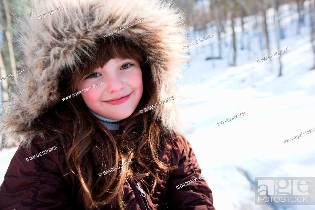 Stock Photo: Girl wearing winter coat, portrait.