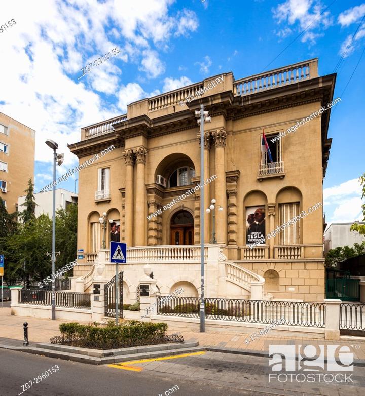 Stock Photo: Front facade of the Nikola Tesla Museum, Belgrade, Serbia.