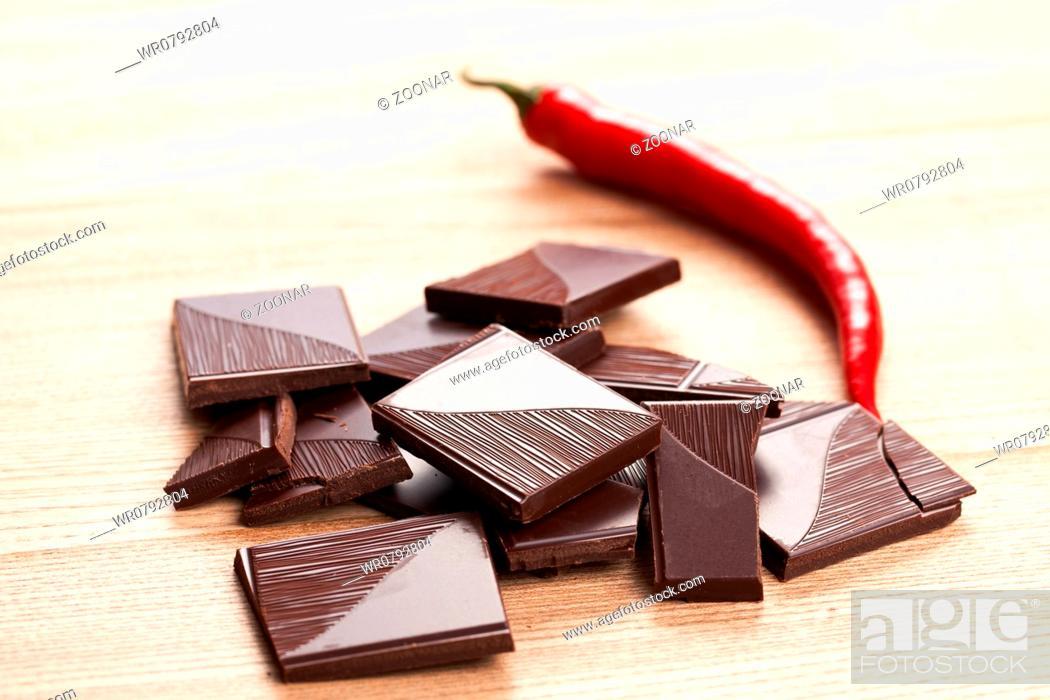 Stock Photo: dark chili chocolate.