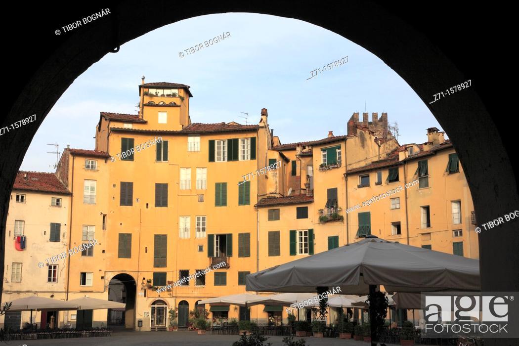 Stock Photo: Piazza dell'Anfiteatro, Lucca, Tuscany, Italy.
