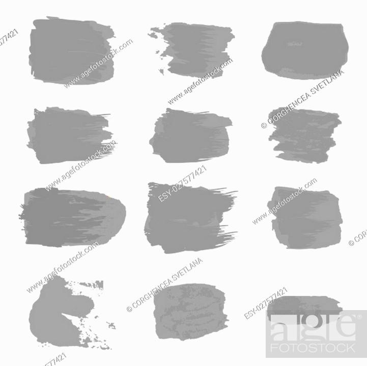 Stock Vector: Vector brush stroke gray paint abstract on white background set hand drawing design art, silver color grunge texture frame for greeting card, invitation.