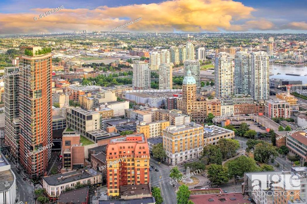 Stock Photo: Vancouver BC Canada Downtown Cityscape with Victory Square Aerial View.