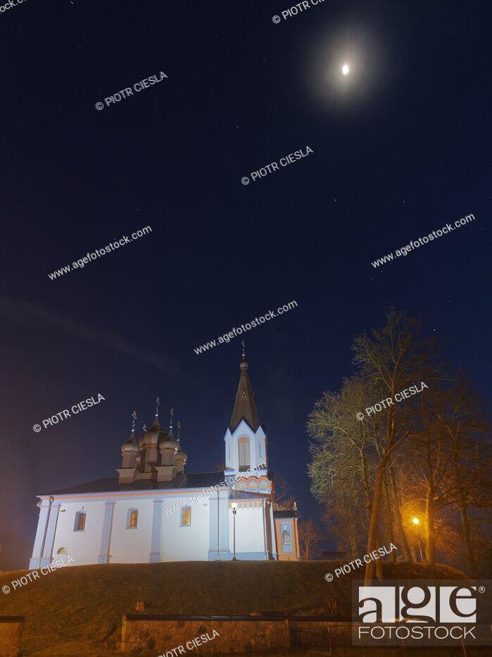 Stock Photo: Orthodox church at night. Mielnik, Podlasie region, Poland.