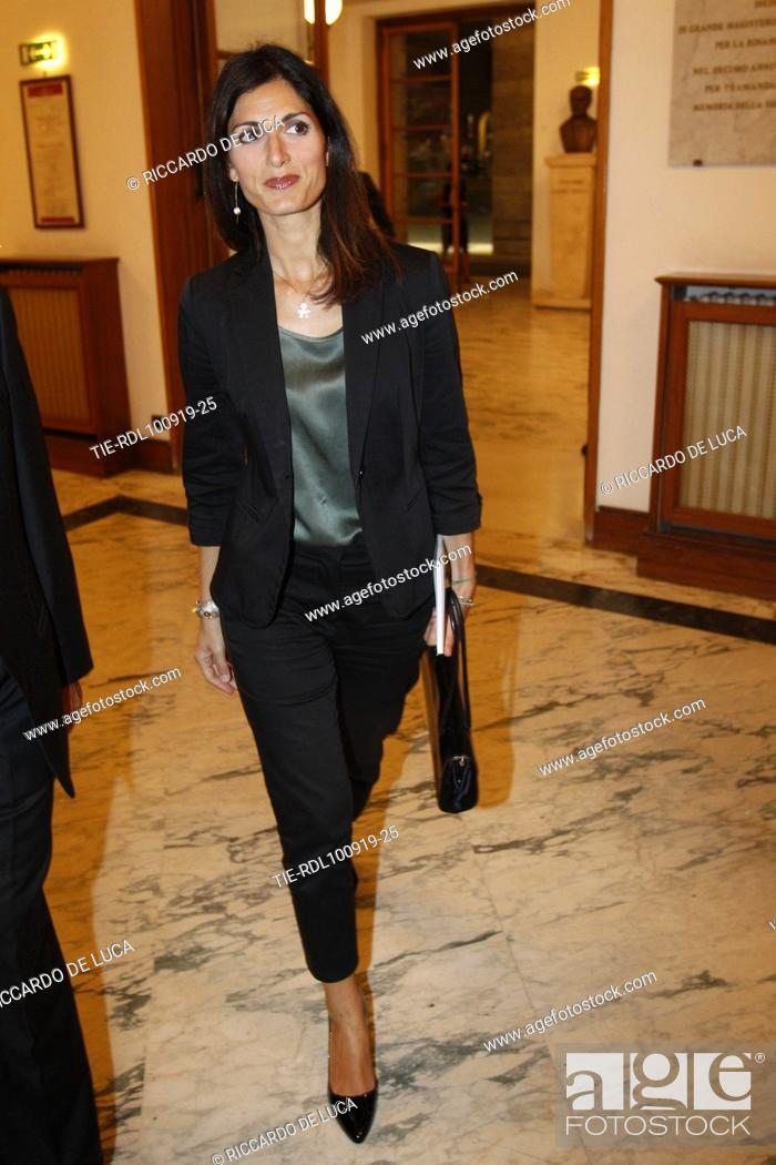 Stock Photo: Mayor of Rome Virginia Raggi arrives at the Premiere of theatrical performance ' Waiting for the Sibyl ' at Opera Theatre of Rome, ITALY-10-09-2019.