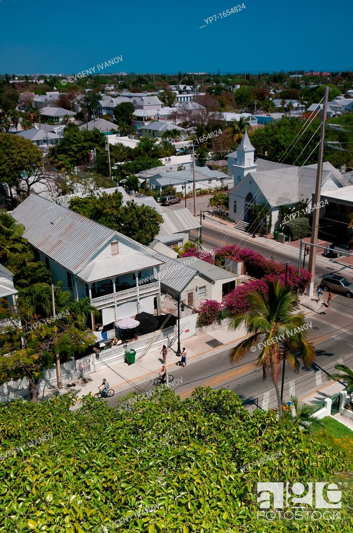 Stock Photo: Key West panorama with Whitehead street and Newman Methodist church.