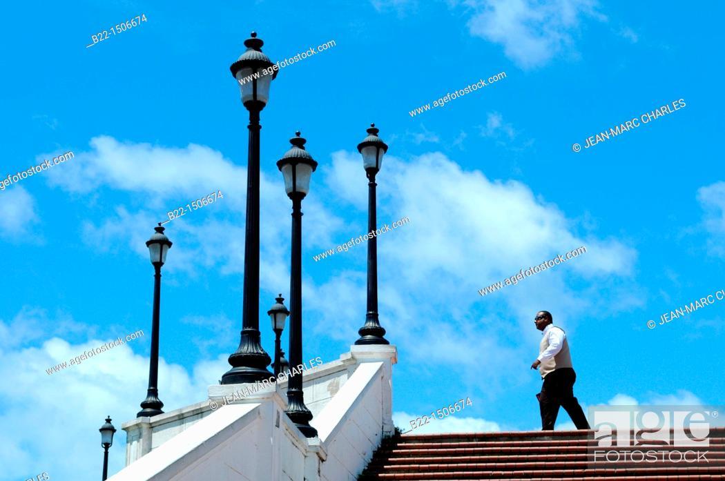 Stock Photo: Plaza de Francia, Las Bovedas, Casco Viejo, historic district and cultural gem of Panama City, Republic of Panama, Central America.