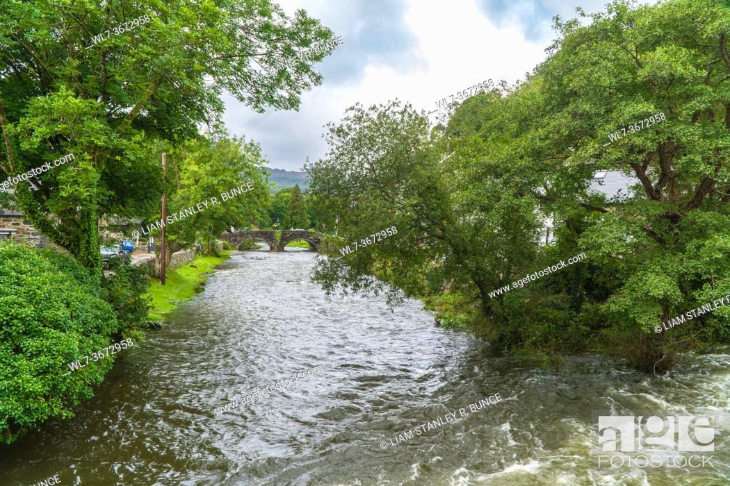Stock Photo: River Colwyn flowing throgh Beddgelert North Wales UK August 2020.