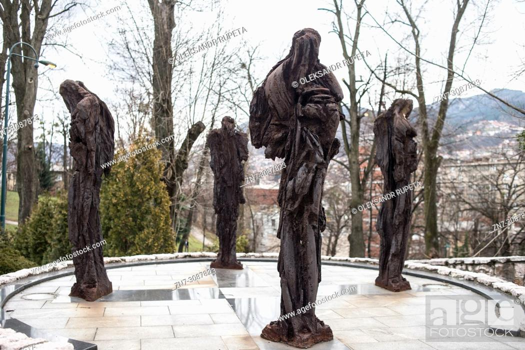 Stock Photo: Memorial to the French military dead in Bosnian War by sculptor Xavier Dambrine, Sarajevo, Bosnia and Herzegovina.
