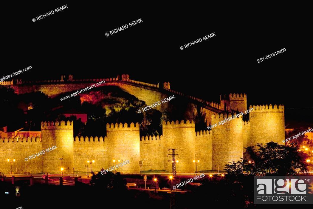Stock Photo: Avila at night, Castile and Leon, Spain.