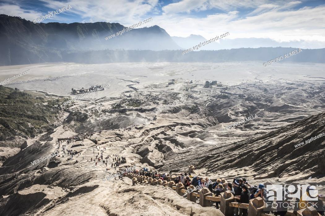 Stock Photo: Stairs in Bromo's slope, Bromo Tengger Semeru National Park (East Java, Indonesia).