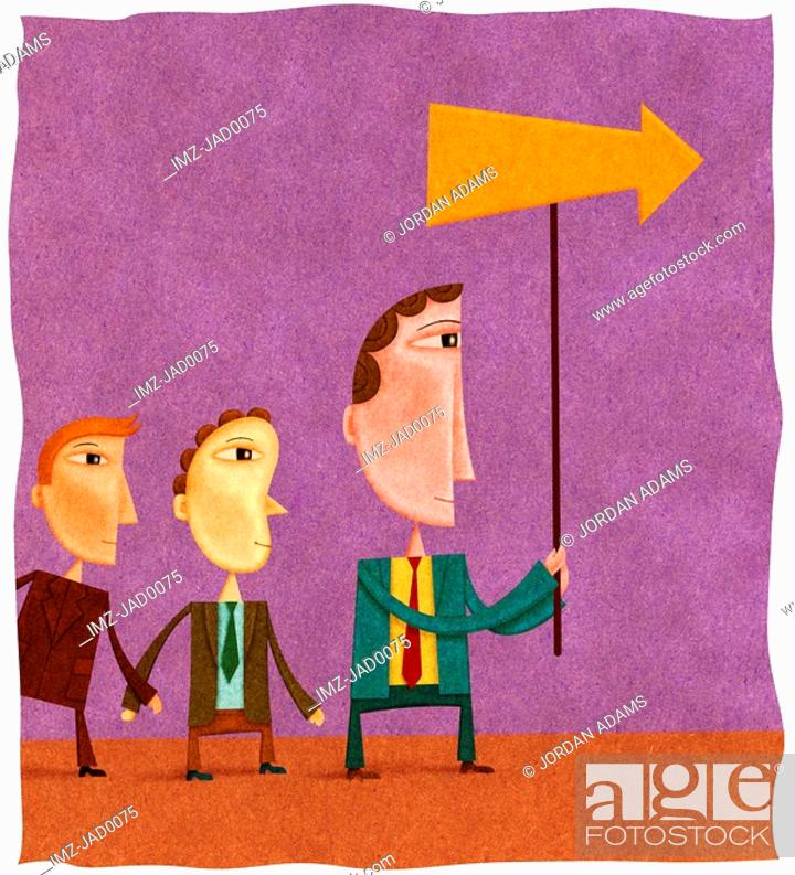 Stock Photo: Two young businessmen following a businessman with an arrow.