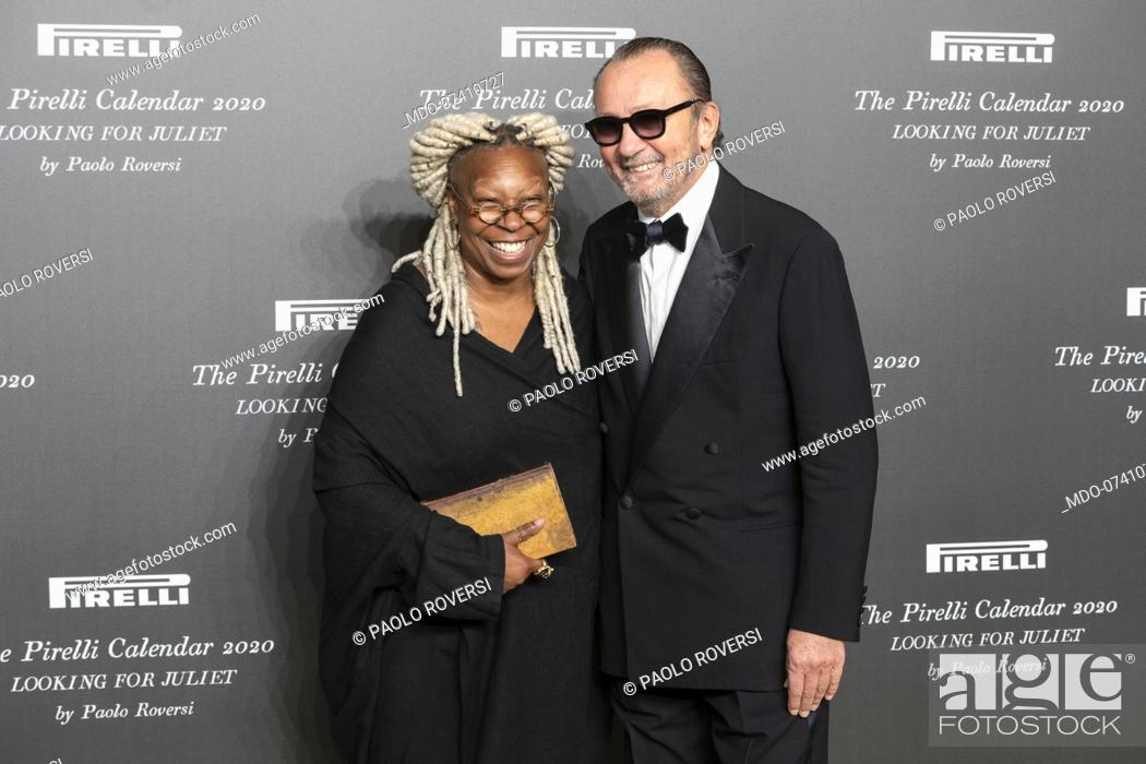 Stock Photo: Italian Paolo Roversi and American actress Whoopi Goldberg during the presentation of the Pirelli 2020 Calendar at the Verona Philharmonic Theater.