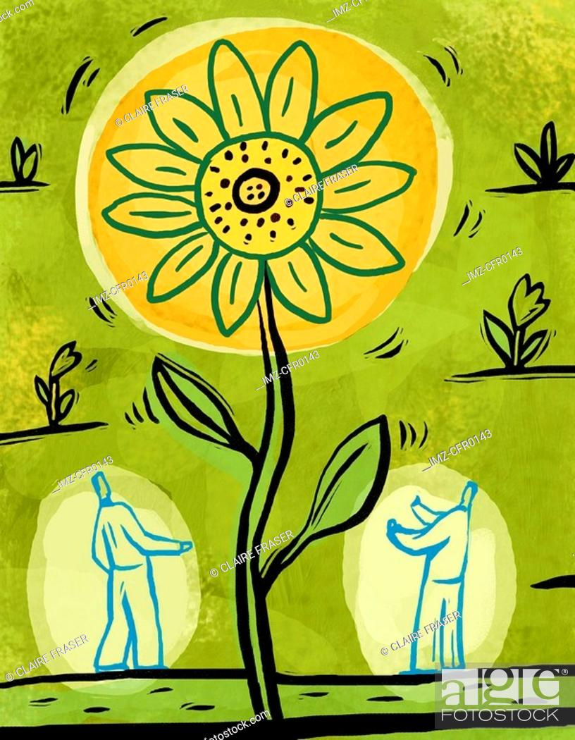 Stock Photo: An illustration of two people admiring a large sunflower.