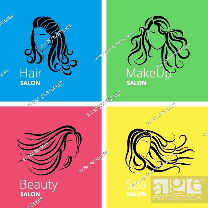 Beauty salon logo set, Stock Photo