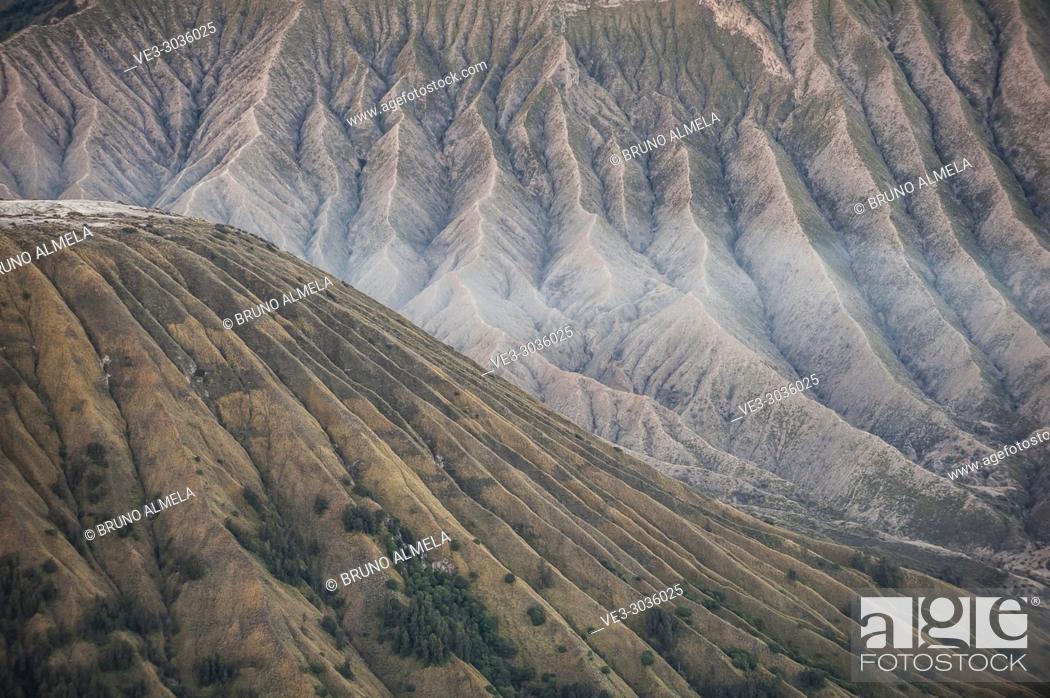 Stock Photo: View of Batok and Widodaren Volcanoes slopes in Bromo Tengger Semeru National Park (East Java, Indonesia).
