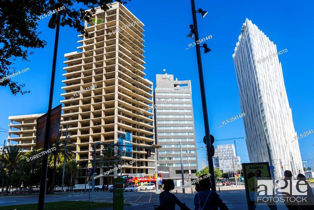 Imagen: Barcelona, Spain, Street Scenes, Port Forum Neighborhood, Abandoned Building Projects.