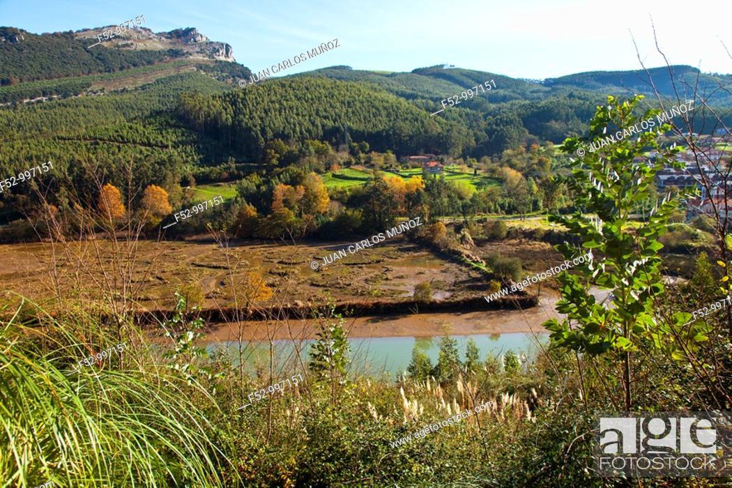 Stock Photo: Agüera river. Ría de Oriñón. Cantabria. Spain.