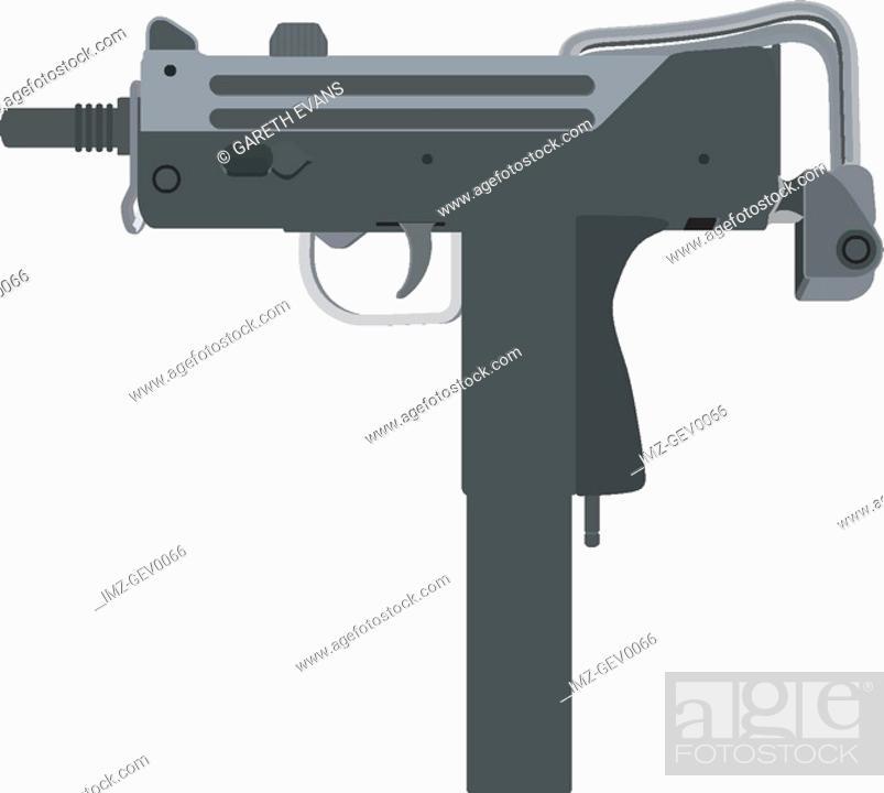 Stock Photo: An illustration of mac-11 machine pistol designed by Gordon Ingram.