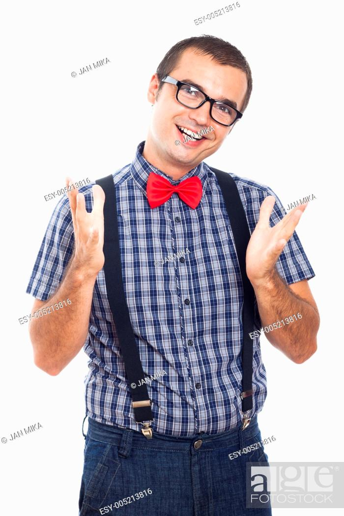 Stock Photo: Portrait of happy geek man gesturing, isolated on white background.