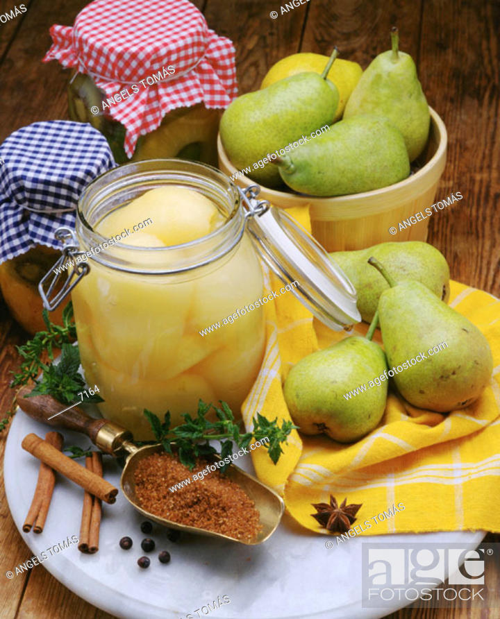 Stock Photo: Preserved pears.