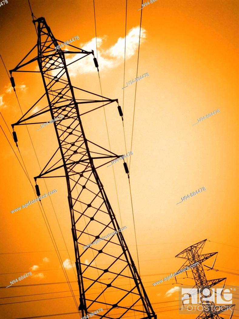 Stock Photo: Metal tower transmission and supply of electricity.