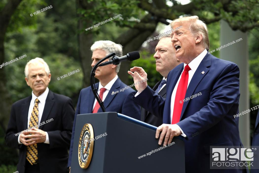 Stock Photo: United States President Donald J. Trump delivers remarks on China in the Rose Garden at the White House in Washington, DC on May 29, 2020.