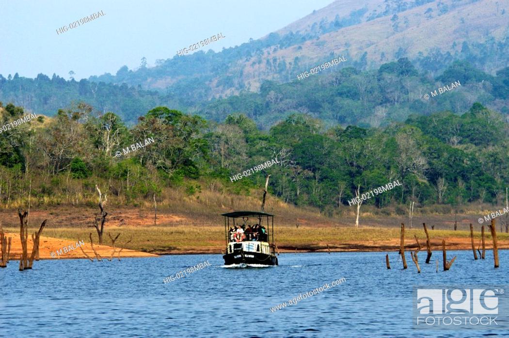 Stock Photo: BOATING IN PERIYAR LAKE IN PERIYAR TIGER RESERVE, THEKKADY.