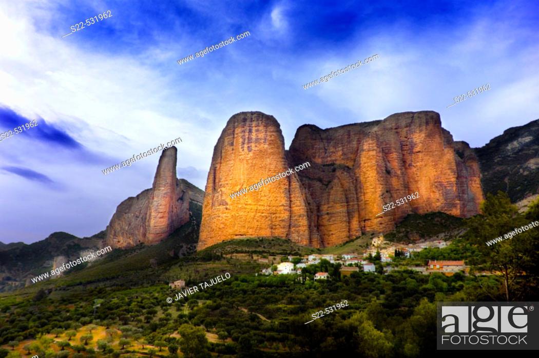 Stock Photo: Mallos de Riglos in Huesca province. Aragon. Spain.