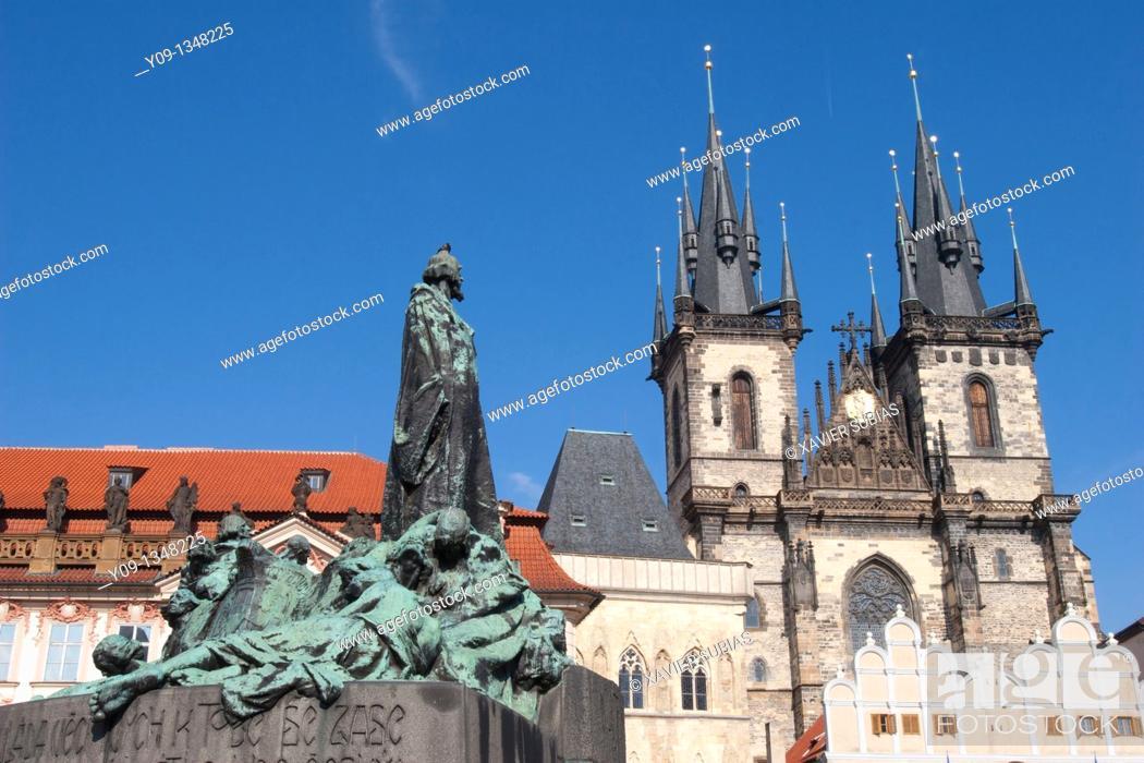 Stock Photo: Jan Hus statue Tyn church old town square Staromestske Namesti  Prague  Czech Republic.