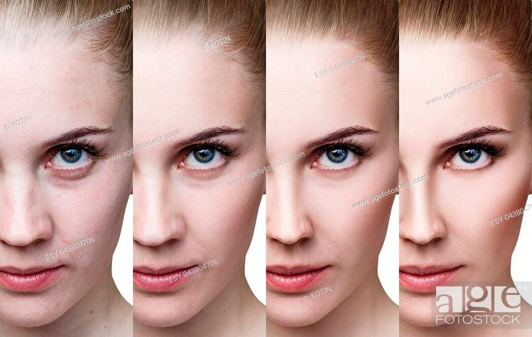Imagen: Young woman applying make-up step by step. Before and after make-up and retouch.