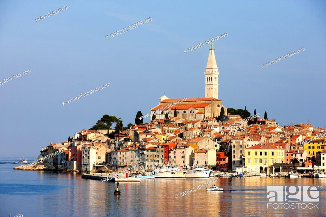 Stock Photo: Croatia, Istria, Adriatic Coast, the city of Rovinj dominated by the church of St. Eufemia in baroque style.