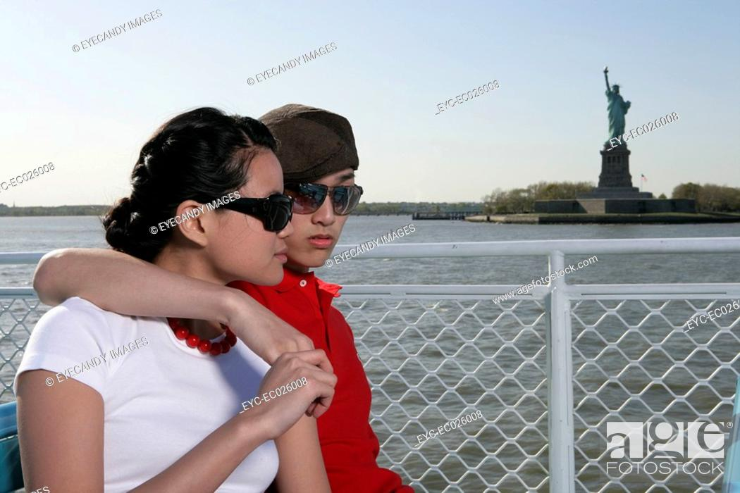 Stock Photo: Young couple on a ferryboat.