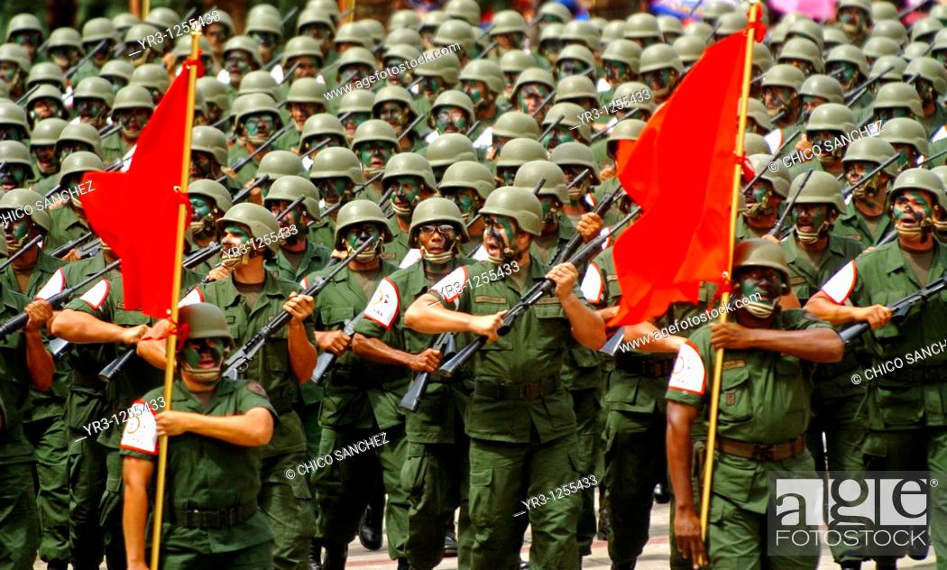 Stock Photo: Army reservists march in a military parade in Valencia, Venezuela.