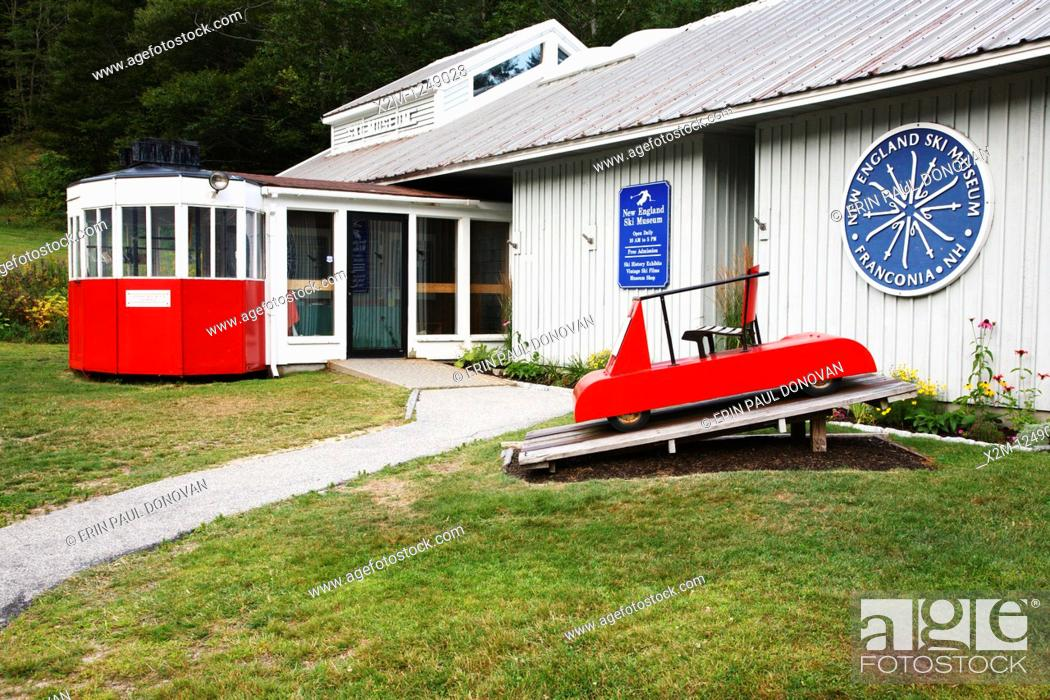 Stock Photo: Franconia Notch State Park - New England Ski Museum at the base of Cannon Mountain in the White Mountains, New Hampshire USA.