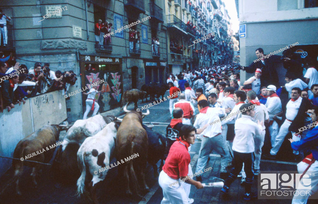 Stock Photo: Running of the bulls. San Fermin. Pamplona. Navarre. Spain.